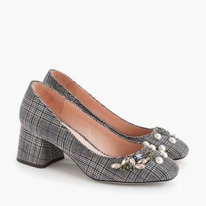 J.Crew Plaid jeweled heels, Sz 7.5, NWT
